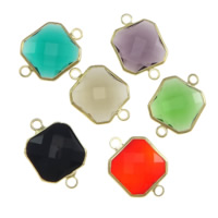 Glass Connector, Brass, with Glass, Square, gold color plated, faceted & 1/1 loop, mixed colors, nickel, lead & cadmium free, 14x14x5mm, Hole:Approx 2mm, 20PCs/Lot, Sold By Lot