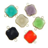 Коннектеры из стекла, Латунь, с Стеклянный, Квадратная форма, плакирован золотом, граненый & 1/1 петля, разноцветный, не содержит никель, свинец, 14x14x5mm, отверстие:Приблизительно 2mm, 20ПК/Лот, продается Лот