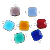 Glass Connector, Brass, with Glass, Square, silver color plated, faceted & 1/1 loop, mixed colors, nickel, lead & cadmium free, 12x12x5mm, Hole:Approx 2mm, 20PCs/Lot, Sold By Lot