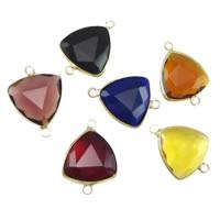 Коннектеры из стекла, Латунь, с Стеклянный, Треугольник, плакирован золотом, граненый & 1/1 петля, разноцветный, не содержит никель, свинец, 18x18x6mm, отверстие:Приблизительно 2mm, 20ПК/Лот, продается Лот