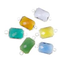 Коннектеры из стекла, Латунь, с Стеклянный, Прямоугольная форма, плакирован серебром, граненый & 1/1 петля, разноцветный, не содержит никель, свинец, 10x14x5mm, отверстие:Приблизительно 2mm, 20ПК/Лот, продается Лот