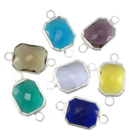 Glass Connector, Brass, with Glass, Rectangle, silver color plated, faceted & 1/1 loop, mixed colors, nickel, lead & cadmium free, 10x12x5mm, Hole:Approx 2mm, 20PCs/Lot, Sold By Lot