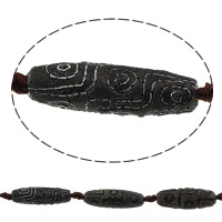 Natural Tibetan Agate Dzi Beads, Oval, 39.5-41x11.5-14.5mm, Hole:Approx 1-2mm, Length:Approx 15 Inch, 3Strands/Lot, 8PCs/Strand, Sold By Lot