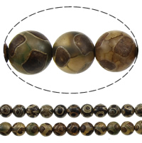 Natural Tibetan Agate Dzi Beads, Oval, mixed colors, 8mm, Hole:Approx 1-2mm, Length:Approx 15.5 Inch, 5Strands/Lot, Approx 47PCs/Strand, Sold By Lot