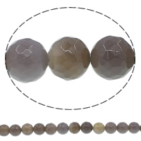 Natural Grey Agate Beads, Round, different size for choice & faceted, Hole:Approx 1mm, Length:Approx 15 Inch, Sold By Lot