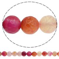 Natuurlijke Crackle Agaat parels, Ronde, verschillende grootte voor keus & gefacetteerde, multi-gekleurde, Gat:Ca 1mm, Lengte:Ca 15 inch, Verkocht door Lot