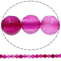 Natuurlijke Crackle Agaat parels, Ronde, verschillende grootte voor keus & gefacetteerde, helder rozerood, Gat:Ca 1mm, Lengte:Ca 15 inch, Verkocht door Lot