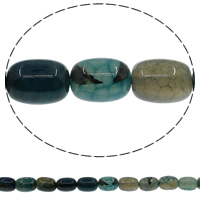 Natuurlijke Crackle Agaat parels, Kolom, blauw, 10x14mm, Gat:Ca 1mm, Lengte:Ca 15 inch, 10strengen/Lot, Ca 28pC's/Strand, Verkocht door Lot