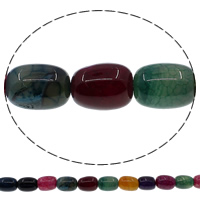 Natuurlijke Crackle Agaat parels, Kolom, multi-gekleurde, 10x14mm, Gat:Ca 1mm, Lengte:Ca 15 inch, 10strengen/Lot, Ca 28pC's/Strand, Verkocht door Lot