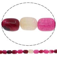 Natuurlijke Crackle Agaat parels, Kolom, helder rozerood, 10x14mm, Gat:Ca 1mm, Lengte:Ca 15 inch, 10strengen/Lot, Ca 26pC's/Strand, Verkocht door Lot