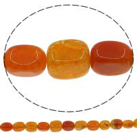 Natuurlijke Crackle Agaat parels, Rechthoek, rood, 10x14mm, Gat:Ca 1mm, Lengte:Ca 14.5 inch, 10strengen/Lot, Ca 25pC's/Strand, Verkocht door Lot