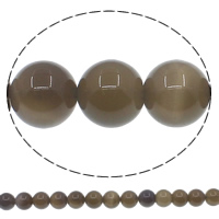 Natural Grey Agate Beads, Round, different size for choice, Hole:Approx 1mm, Length:Approx 15 Inch, Sold By Lot
