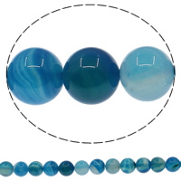 Natural Blue Agate Beads, Round, different size for choice, Hole:Approx 1mm, Length:Approx 15 Inch, Sold By Lot