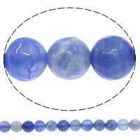 Natuurlijke Crackle Agaat parels, Ronde, gefacetteerde, blauw, 8mm, Gat:Ca 1mm, Lengte:Ca 15 inch, 10strengen/Lot, Ca 48pC's/Strand, Verkocht door Lot