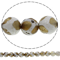 Natural Tibetan Agate Dzi Beads, Round, different size for choice & faceted, Hole:Approx 1mm, Length:Approx 15 Inch, Sold By Lot