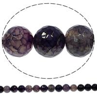 Natuurlijke Crackle Agaat parels, Ronde, verschillende grootte voor keus & gefacetteerde, purper, Gat:Ca 1mm, Lengte:Ca 15 inch, Verkocht door Lot
