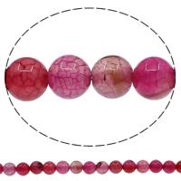 Natuurlijke Crackle Agaat parels, Ronde, verschillende grootte voor keus, helder rozerood, Gat:Ca 1mm, Lengte:Ca 15 inch, Verkocht door Lot