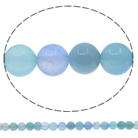 Natural Blue Agate Beads, Round, 8mm, Hole:Approx 1mm, Length:Approx 15.3 Inch, 10Strands/Lot, Approx 48PCs/Strand, Sold By Lot
