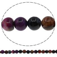 Natuurlijke Crackle Agaat parels, Ronde, multi-gekleurde, 6mm, Gat:Ca 1mm, Lengte:Ca 15 inch, 10strengen/Lot, Ca 63pC's/Strand, Verkocht door Lot
