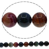 Natuurlijke Crackle Agaat parels, Ronde, multi-gekleurde, 18mm, Gat:Ca 1mm, Lengte:Ca 15 inch, 10strengen/Lot, Ca 22pC's/Strand, Verkocht door Lot