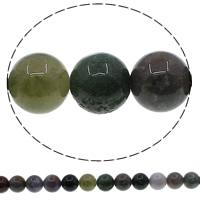 Luonnollinen Moss akaatti helmet, Pyöreä, erikokoisia valinnalle, Reikä:N. 1mm, Pituus:N. 15 tuuma, Myymät erä