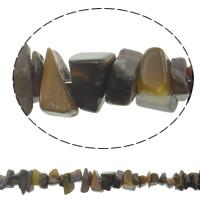 Tiger Eye Kralen, Chips, 4-12mm, Gat:Ca 1mm, Lengte:Ca 34.5 inch, 10strengen/Bag, Ca 310pC's/Strand, Verkocht door Bag