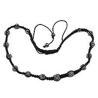 Нейлоновый шнурок Шамбала-браслет, с Горный хрусталь глины проложить шарик & Немагнитный гематит, регулируемый & 3-нить, 10mm, длина:Приблизительно 28 дюймовый, 5пряди/Лот, продается Лот