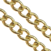Brass Oval Chain, gold color plated, curb chain, nickel, lead & cadmium free, 1.70x1.30x0.50mm, Length:100 m, Sold By Lot