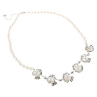 Freshwater Pearl Brass Necklace, with Brass, with 4.5cm extender chain, Rice, natural, with rhinestone, white, 5-6mm, 18x26x10mm, Sold Per Approx 17.5 Inch Strand