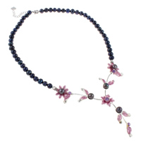 Freshwater Pearl Brass Necklace, with Brass, with 4.5cm extender chain, Flower, enamel & with rhinestone, black, 6-7mm, 16x6mm, Sold Per Approx 16 Inch Strand