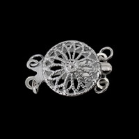 925 Sterling Silver Box Clasp Flat Round 2-strand   hollow 11x11x5mm 5PCs/Bag