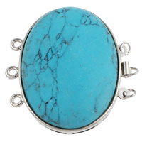 Brass Box Clasp, with Natural Turquoise, Oval, platinum color plated, 3-strand, nickel, lead & cadmium free, 42x39.50x11mm, Hole:Approx 2mm, Sold By PC