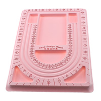 Bead Design Board, Plastic, Rectangle, with velveteen covered, pink, 238x325mm, 10PCs/Bag, Sold By Bag