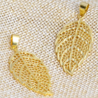 24 K Gold Color Plated Pendant Brass Leaf 24K gold plated hollow nickel lead   cadmium free 20x43mm Hole:Approx 2x4.5mm 20PCs/Lot