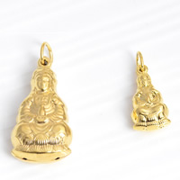 24 K Gold Color Plated Pendant Brass Guanyin 24K gold plated Buddhist jewelry nickel lead   cadmium free Hole:Approx 3mm 20PCs/Lot