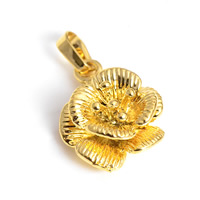 24 K Gold Color Plated Pendant Brass Flower 24K gold plated layered nickel lead   cadmium free 15x24mm Hole:Approx 2x4.5mm 30PCs/Lot