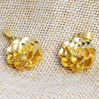 24 K Złoty Kolor Plated wisiorek, Mosiądz, Kwiat, pozłacane 24-karatowym złotem, warstwowe, bez zawartości niklu, ołowiu i kadmu, 20x28mm, otwór:około 2x4.5mm, 20komputery/wiele, sprzedane przez wiele