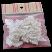 Tworzywa ABS perła Wisiorek, Liść, biały, 39x46x6mm, 100x170mm, otwór:około 1mm, 10komputery/torba, sprzedane przez torba