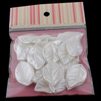 Tworzywa ABS perła Wisiorek, Liść, biały, 24x37x4mm, 100x170mm, otwór:około 1mm, 30komputery/torba, sprzedane przez torba