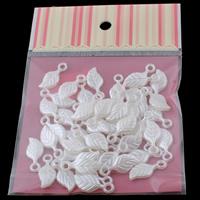 Tworzywa ABS perła Wisiorek, Liść, biały, 11x25x4mm, 100x170mm, otwór:około 3mm, 50komputery/torba, sprzedane przez torba