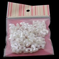 ABS-пластик Слайд-застежка, Имитация жемчуга, белый, 14x13x9mm, 100x170mm, отверстие:Приблизительно 9x5mm, 50ПК/сумка, продается сумка