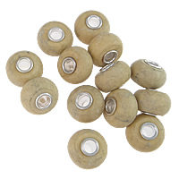 Picture Jasper European Bead, Rondelle, sterling silver single core without troll, 9x14.50mm, Hole:Approx 4.5mm, 10PCs/Lot, Sold By Lot