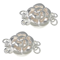 925 Sterling Silver Box Clasp, Flower, 2-strand, 10.50x10.50x6.50mm, 5PCs/Bag, Sold By Bag