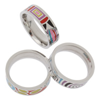 Enamel Stainless Steel Finger Ring mixed 21x6mm US Ring Size:6.5 5PCs/Bag