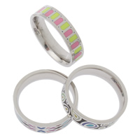 Enamel Stainless Steel Finger Ring mixed 25x6mm US Ring Size:11.5 5PCs/Bag