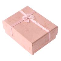 Tektura Pudełko na pierścionki, ze Satynowa wstążka, Prostokąt, różowy, 49x62x24mm, 48komputery/wiele, sprzedane przez wiele