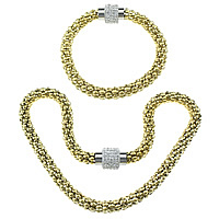 Refine Stainless Steel Jewelry Sets, bracelet & necklace, with Rhinestone Clay Pave, plated, with 240 pcs rhinestone & lantern chain & two tone, 8mm, 20x14mm, 18x14mm,8mm, Length:Approx 16.5 Inch, Approx 8.5 Inch, 20Sets/Lot, Sold By Lot