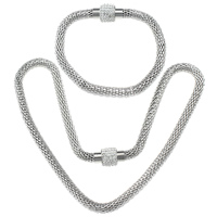 Refine Stainless Steel Jewelry Sets, bracelet & necklace, with Rhinestone Clay Pave, with 200 pcs rhinestone & mesh chain, original color, 18x11.5mm, 6mm,18x11.5mm, 6mm, Length:Approx 18 Inch, Approx 8.5 Inch, 20Sets/Lot, Sold By Lot