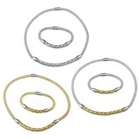 Refine Stainless Steel Jewelry Sets, bracelet & necklace, plated, mesh chain, more colors for choice, 120x10mm, 6mm, 18x10mm, 71x10mm, 6mm, 18x10mm, Length:Approx 18 Inch, Approx 8.5 Inch, 20Sets/Lot, Sold By Lot