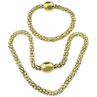 Refine Stainless Steel Jewelry Sets, bracelet & necklace, gold color plated, lantern chain, 18x18mm, 8mm,18x18mm, 8mm, Length:Approx 18 Inch, Approx 9 Inch, 20Sets/Lot, Sold By Lot